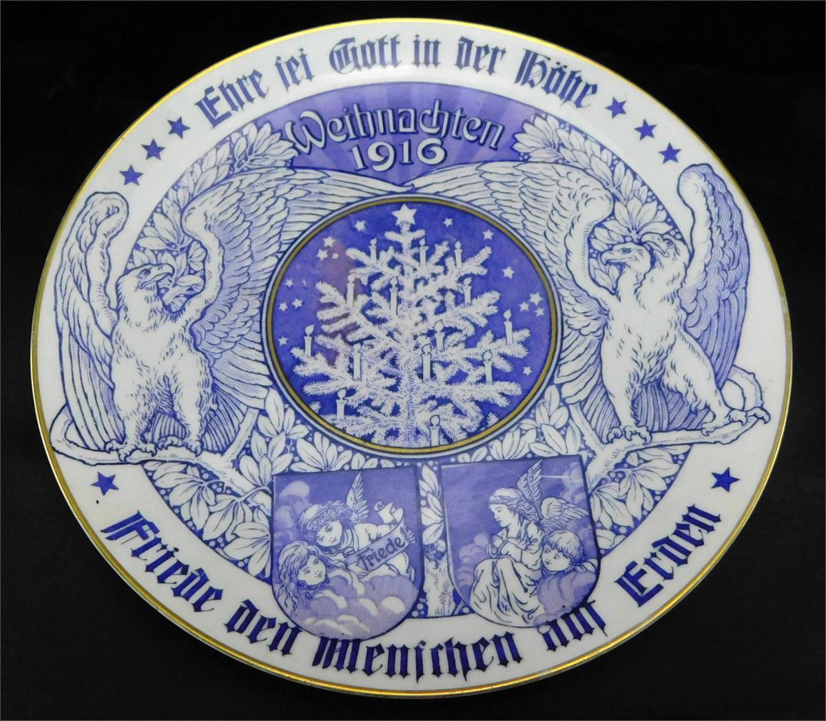 Rosenthal Bjorn Wiinblad Wandteller studio-linie Germany abstrakt 32cm blau weiß